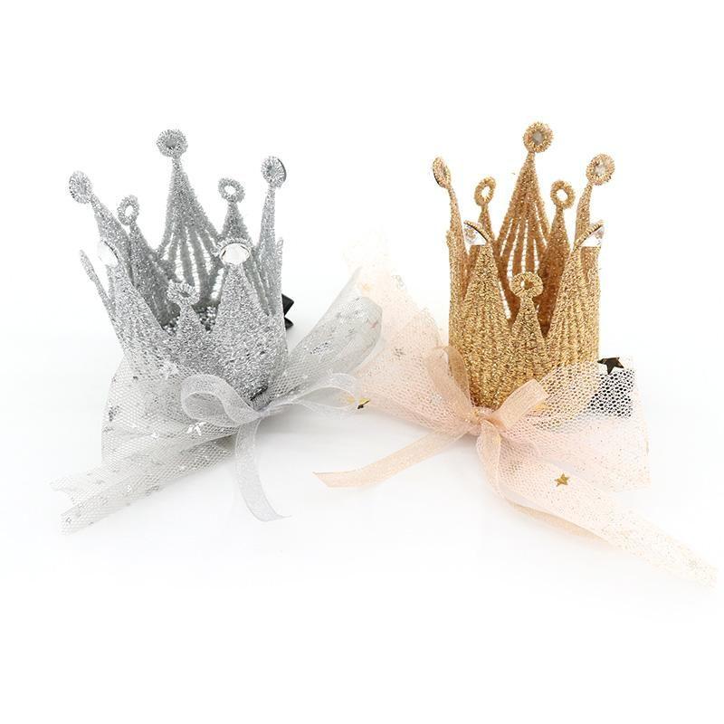 Baby Girl Coiffures Accessoires Couronne Couronne Couronne Gold Argent Couleur Sweet Kids Headwear 1PC Pin pour les filles
