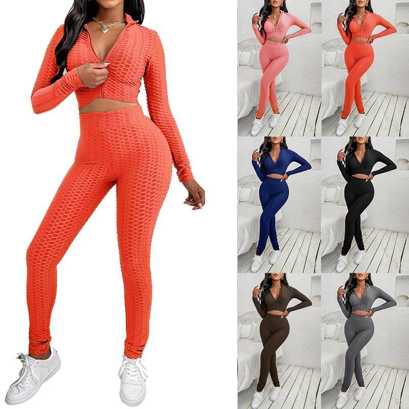 Kadın Pantolon Capris Yoga Setleri Kadın Spor Giyim Sonbahar Ve Kış Spor Giyim kadın Moda Rahat Düz Renk Ananas Spor