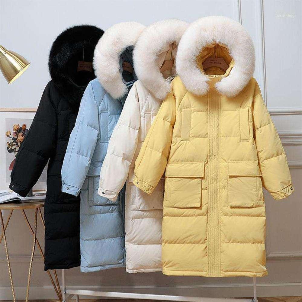 2020 New Down Jacket Female Long Winter Down Coats Women Warm White Duck Parkas Coat Woman Big Fur Collar Hooded Coats1