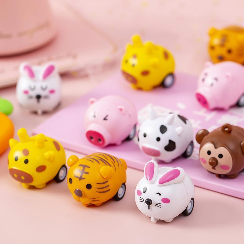미니 작은 만화 작은 동물 디자인 유아 아이들을위한 트럭 관성 운전 자동차 2 륜 소년과 소녀 장난감 2004 Y2