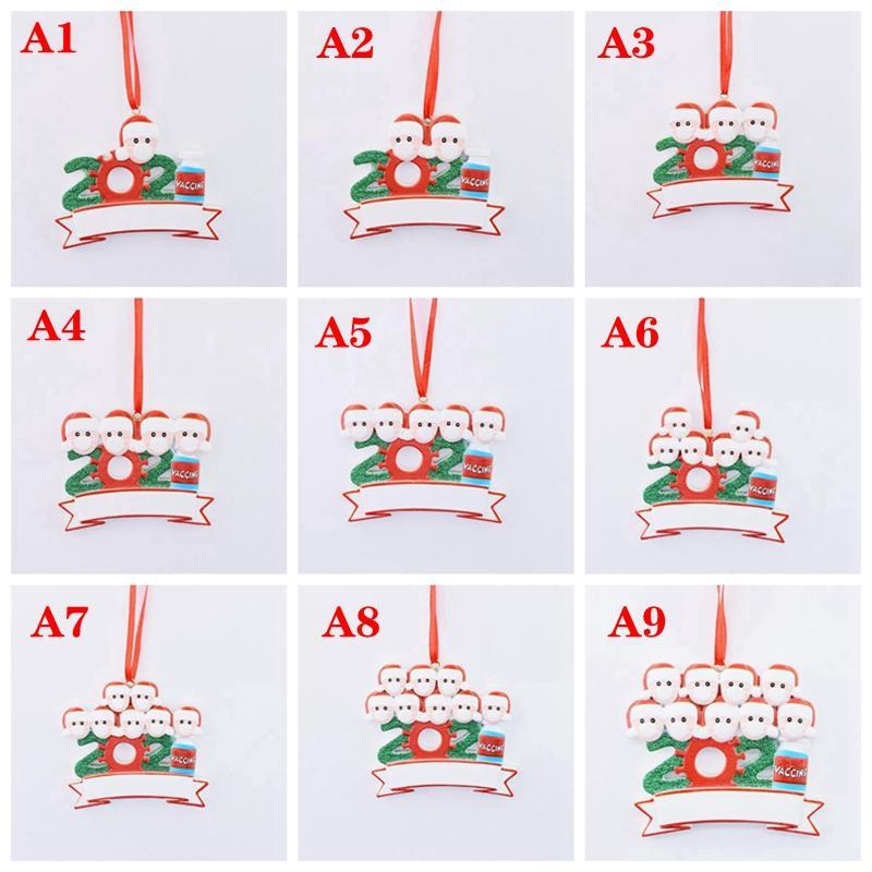68 estilos 2021 Decoraciones navideñas DIY Nombre Bendición Máscara de bendición Resina personalizada Muñeco de nieve Decoración navideña Colgante Colgante