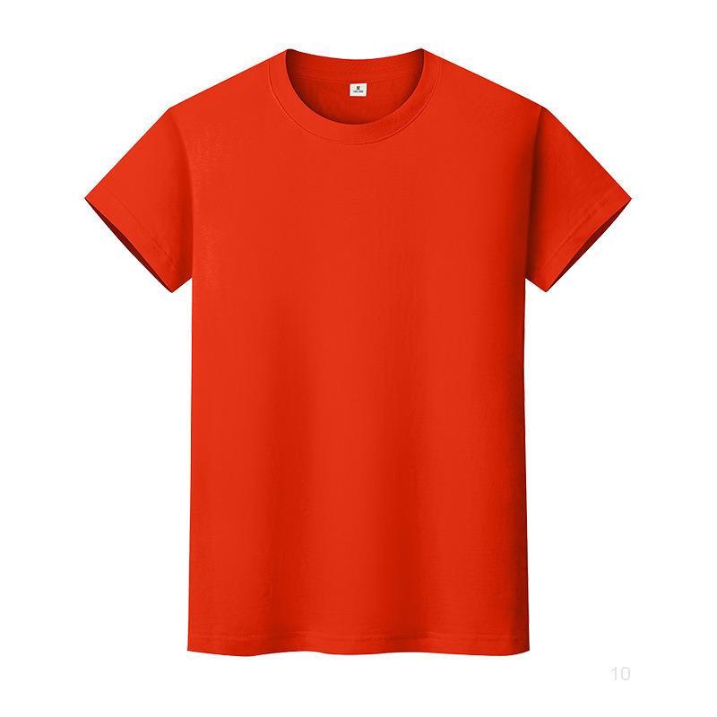 Новая круглая шея сплошная цветная футболка летняя рубашка с хлопковым дном с короткими рукавами мужские и женские половины рукава ZM88IO