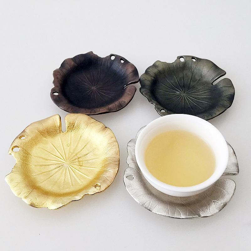 커피 티 세트 Drinkware 액세서리 수제 구리 컵 주석 copers 접시 코스터 크리 에이 티브 내열 코스터