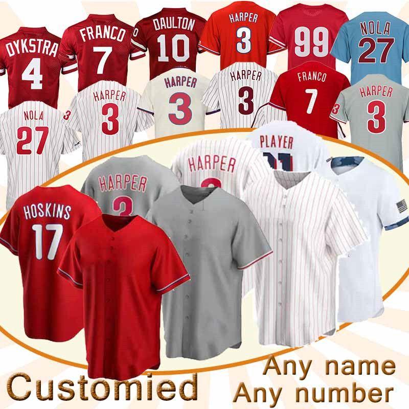 Philadelphia Özel Jersey 3 Bryce Harpe 17 Rhys Hoskins 10 JT Realmuto Herhangi bir isim numarası Beyzbol Formaları Üst