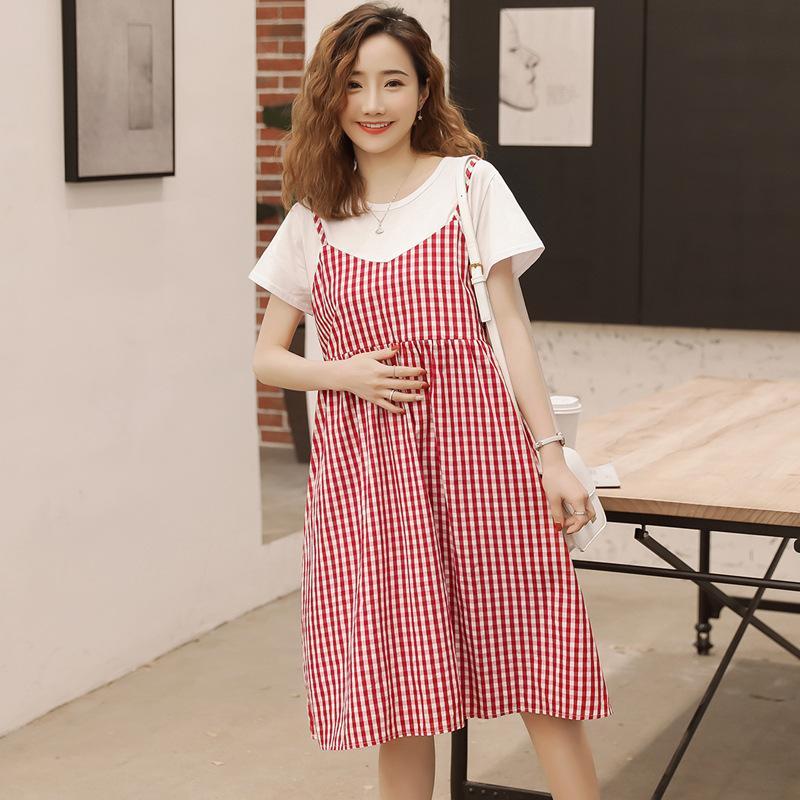 Maternity dresses 2019 summer new Korean fashion fake two piece pregnant women breastfeeding dress pregnancy clothes vestidos 194 Y2