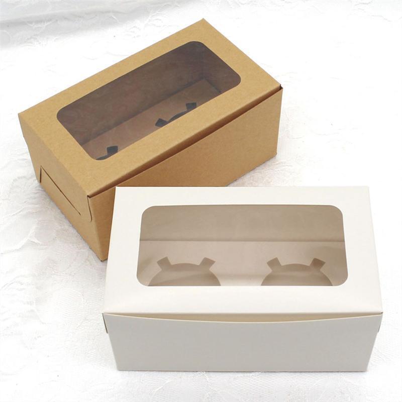 20 pcs Kraft Papel Caixa de Bolo Caixas de Pacote Transparente Baking Ovo Tart Bandejas Muffin Com Insertos Ferramentas de Pastelaria da Bandeja