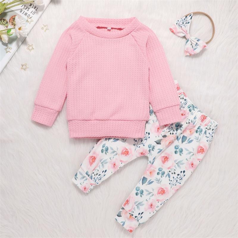 Crew Neck Toddler Girl Abbigliamento Pullover Maglione Pantaloni Pantaloni Abbigliamento Abbigliamento Bambini Baby Autunno Clothe Bow Capelli Anello Abbigliamento morbido Bambino Abbigliamento 25 5DL N2