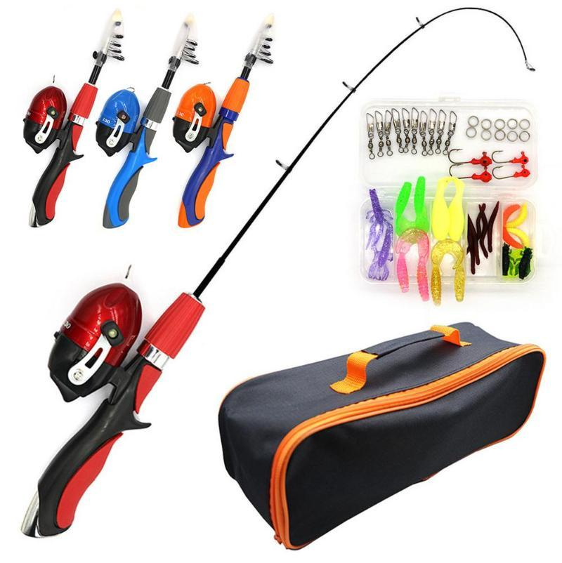 Boat Fishing Rods Kids Pole Set Full Kits With Rod And Spinning Reel Baits Hooks Saltwater Freshwater Travel