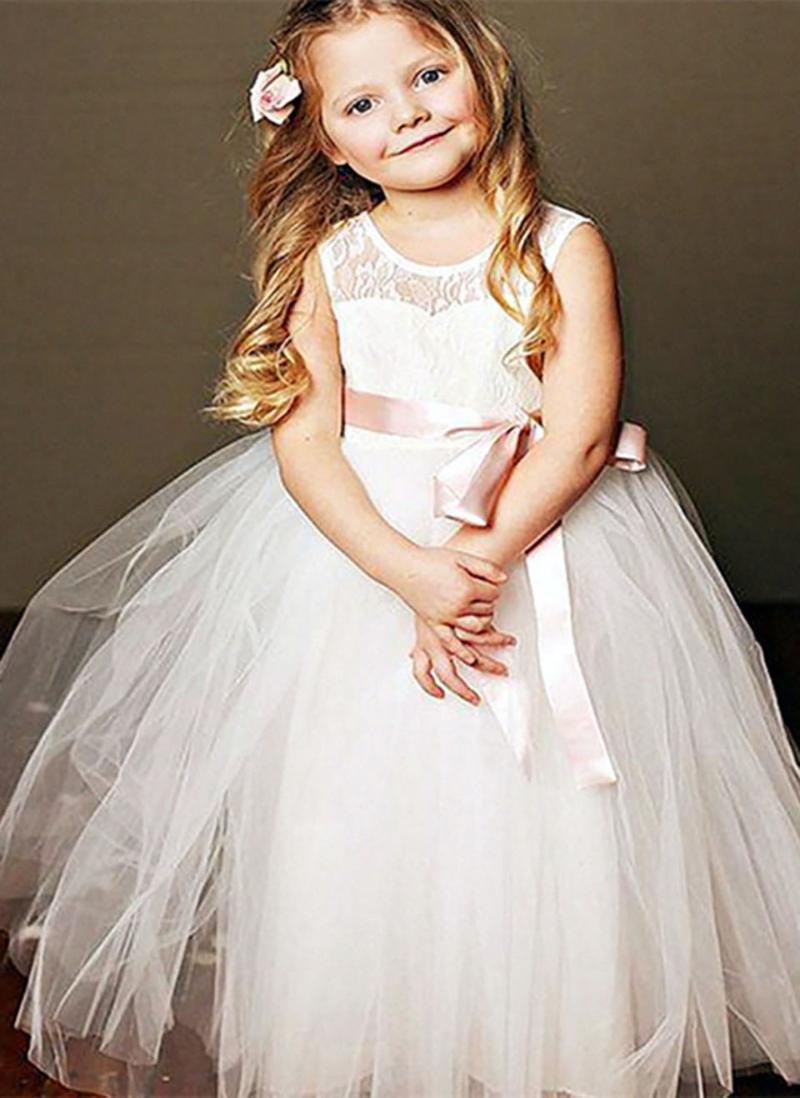 O-Neck White Girls Pageant Baby Children Party Dress Kids Formal Wear Birthday Christmas Lace Custom Flower Dresses Girl's