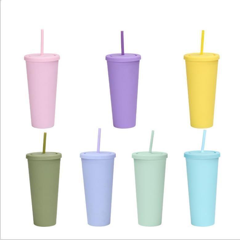 الأزياء الملونة أكواب الاكريليك 700 ملليلتر البلاستيك البلاستيك مع أغطية القش مزدوج الجدار ماتي البلاستيك البهلوان قابلة لإعادة الاستخدام كوب