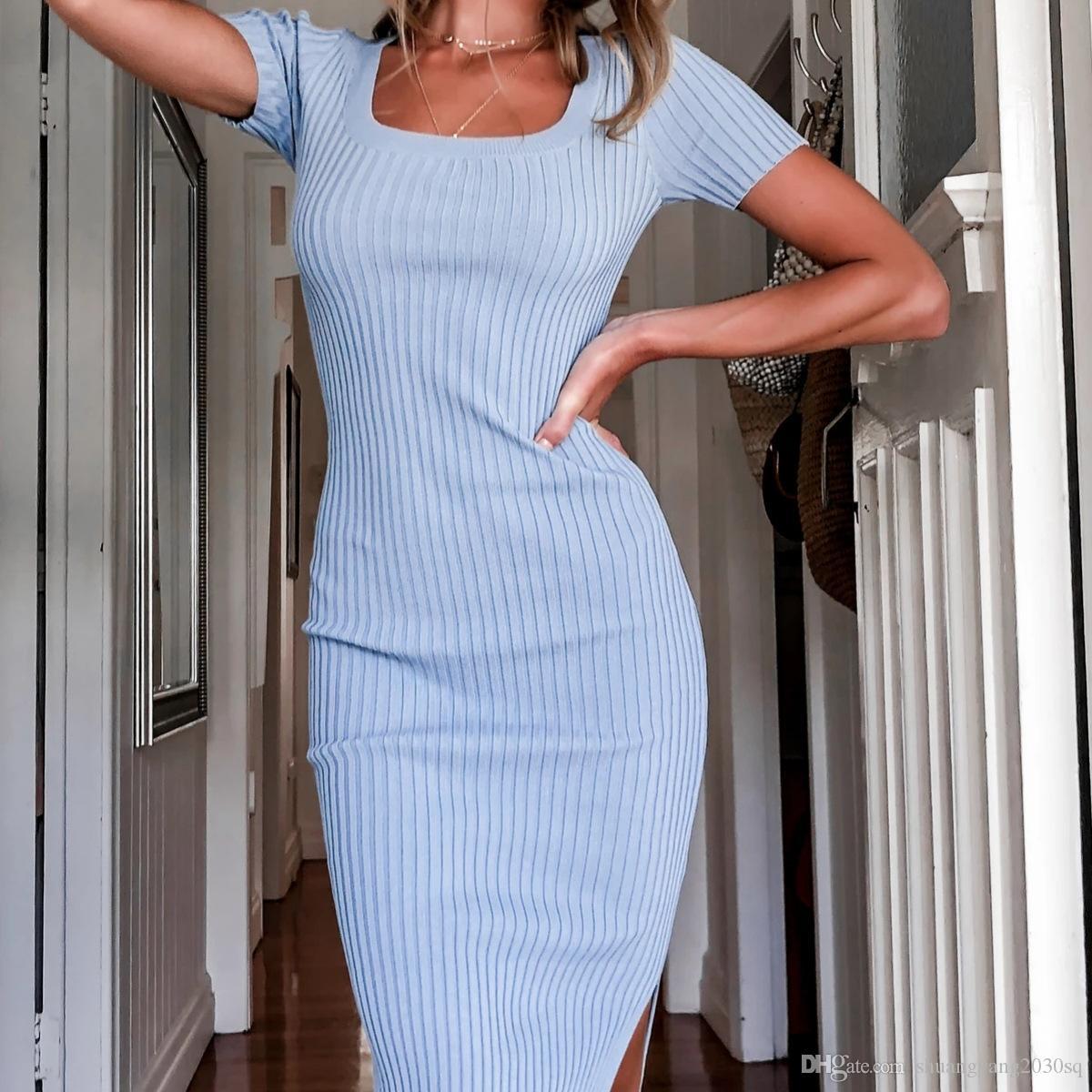 Abiti casual da donna Europa e Stati Uniti Primavera e Estate New Women's Moda Donna Casual Solid Color Abito irregolare
