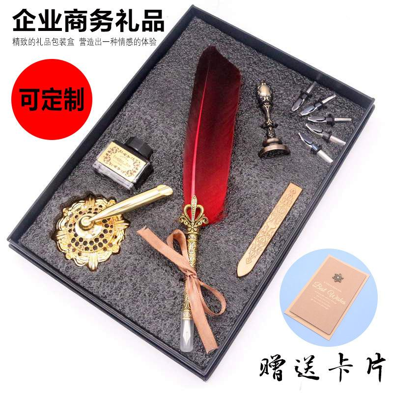 Set 5 Sets of Lacquer Seal Feather Artistic Tabletop Pen Ornament