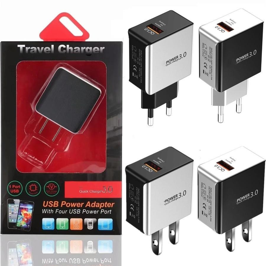 QC3.0 빠른 빠른 충전기 EU US Wall Chargers 아이폰 8 x 11 12 삼성 S10 S20 LG 용 전원 어댑터