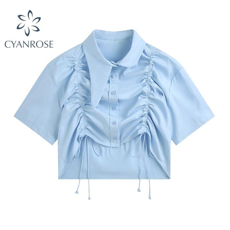 Summer irregolare Design Design Donne Camicetta Streetwear Slim Turn-Down Lace Up Tuck Manica corta Camicia del raccolto unico femminile 210515