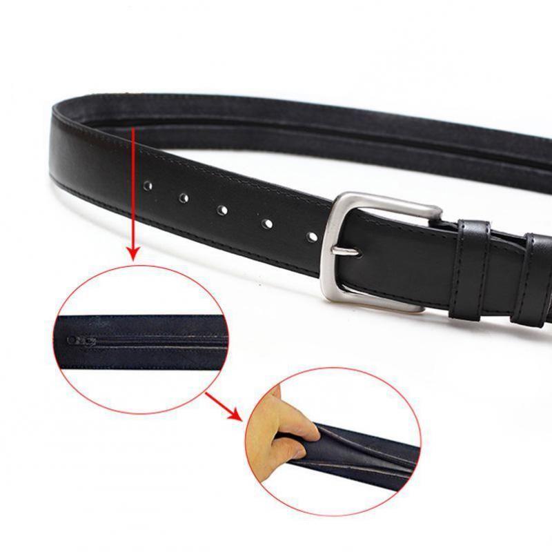 Protección ambiental de cuero PU Clip interno Anti-Robo Rits Portemonnee Belt Cinturones de diseño de lujo para hombres 2021