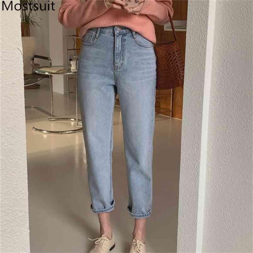 Primavera Blu Dritto Denim Jeans Pantaloni Medio-vita Casual Fashion Solid Femmina Pantaloni Donne Mujer 210513