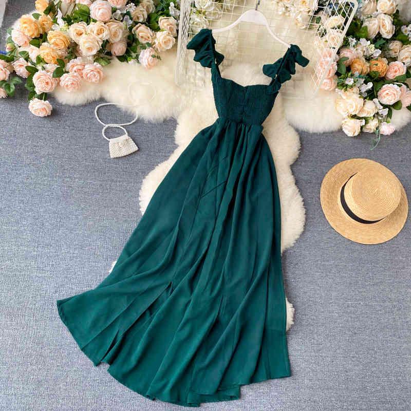 2020 Cintura alta de cintura Cuello Mujer Vestido largo Elegante Big Swing A-Line Vestidos Verano Vintage Vintage / Rojo Vestido de fiesta para mujer X0521