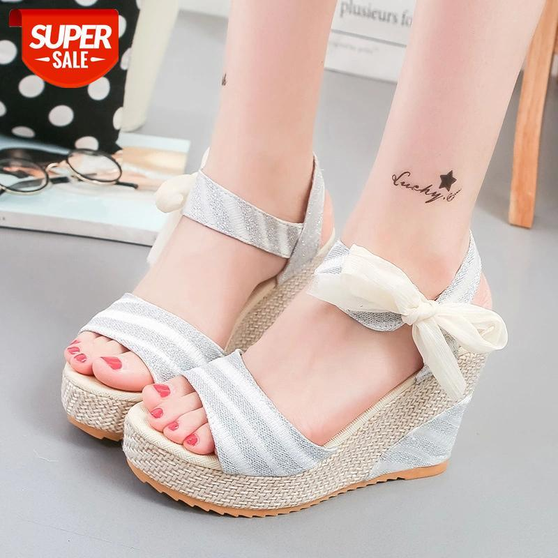 2020New Sandals Lace-up With Thick-soled Muffin Shoes Poe Heel Fish Mouth Cool Wholesale #UE7S