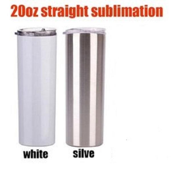 2 نمط 20 أوقية التسامي مستقيم الفضة أبيض كوب مع قش المعادن فراغ السفر الهدايا البحرية طريقة البحر DWA5249