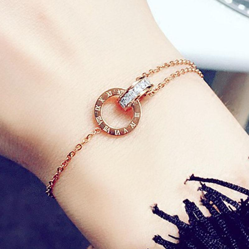 Designer Simple Titanium Steel Roman Digital Bracelet Personality Gold Rose /Gold Jewelry Girlfriends Charm Bracelets With Women Girl Bangle Link