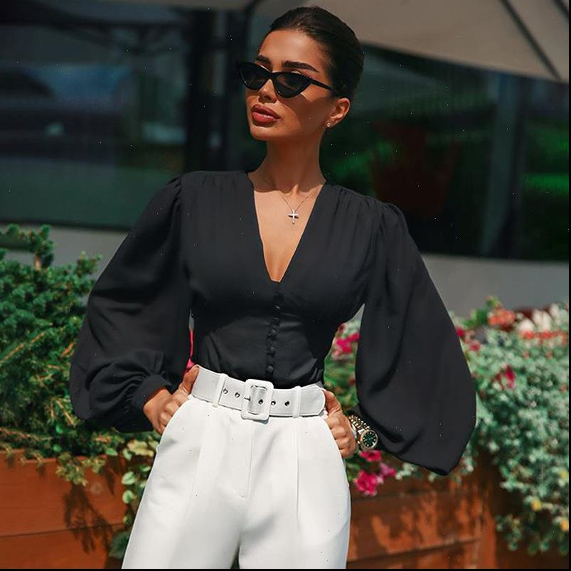 Ricorit Kadınlar Gömlek V Boyun Bluz Kadın Seksi Derin Üst Siyah Düğme Fener Uzun Kollu Ince Zarif Bayan