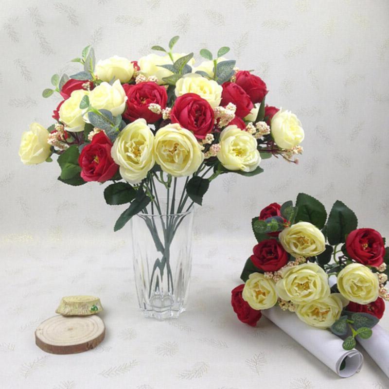 Декоративные цветы венки 10head / букет искусственный шелковый цветок маленький чай, симуляция бутона романтическая роза свадьба дома украшения поддельных