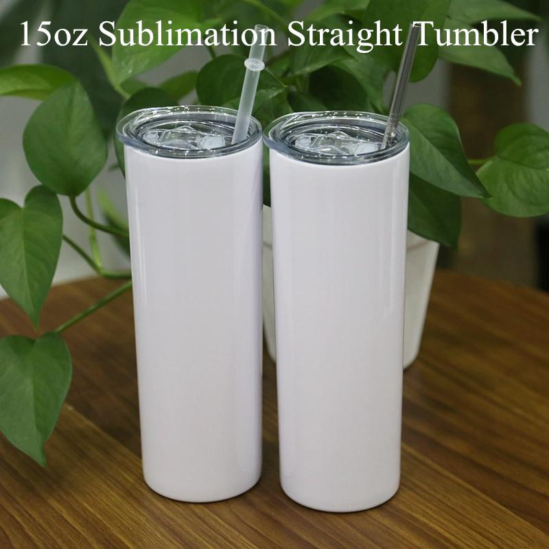 15oz Sublimation Skinny Tumbler double Stainless Steel bottle vacuum Insulated Tumbler for shipping with fedEx A10