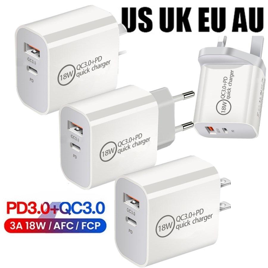Tipo Rápido C carregador UE UN UK AU 18W Tipo-C QC3.0 Carregadores de parede Adaptador para Samsung S8 S9 S10 Nota 10 HTC Huawei Android Phone PC