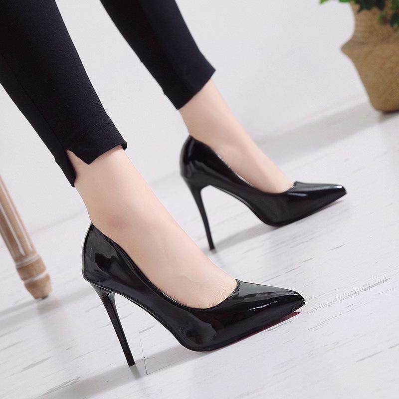 Mulheres bombas saltos altos couro preto apontado toe sexy stiletto sapatos mulher casamento senhoras mais grande vestido feito sob encomenda