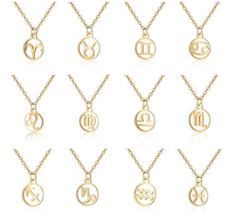 Zodyak Kolye Kolye 12 Takımyıldızı Işareti Işaretleri Kolye Kadınlar Için Gümüş Altın Zincir Takı Hediye Toptan