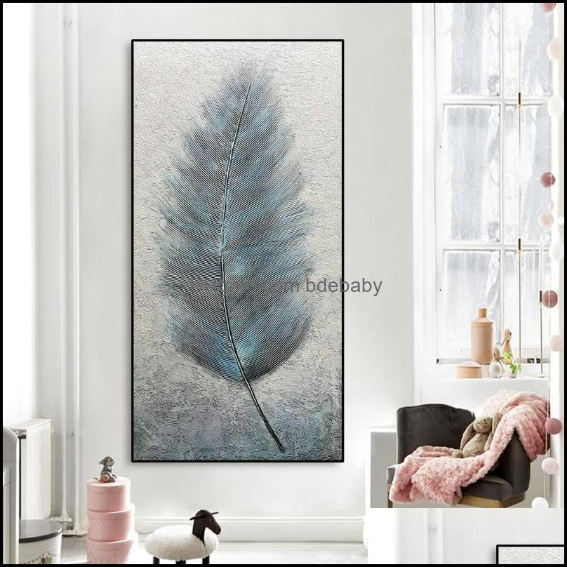 Paintings Arts, Crafts Gifts & Gardenpaintings Nordic Feather Canvas Painting Calligraphy Posters Pictures Wall Art Prints Decoration For Li
