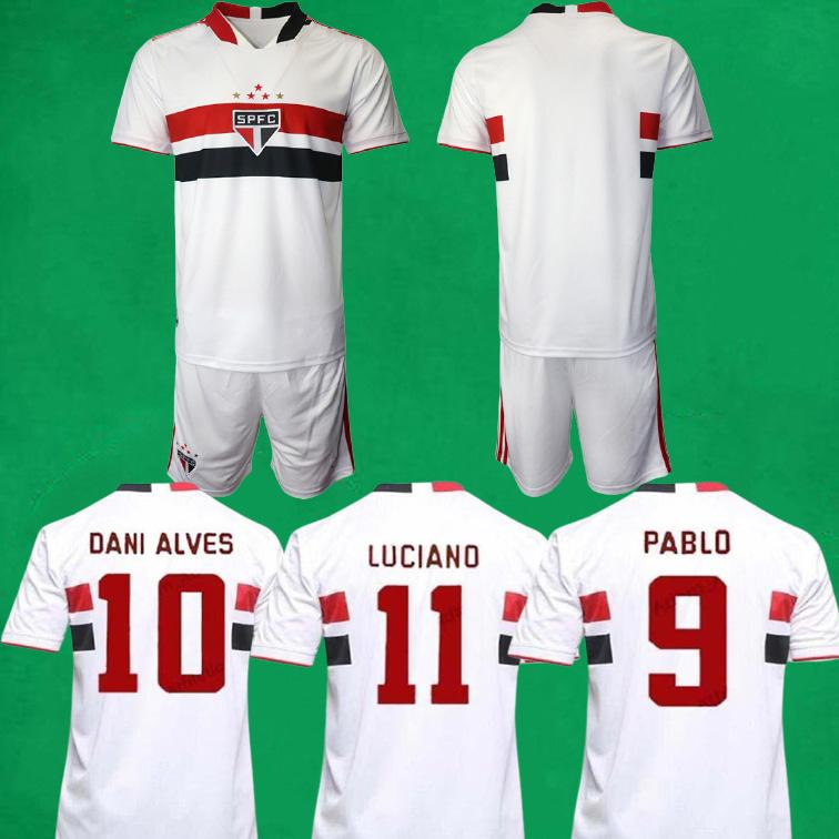 21/22 Sao Paulo Fussball Jersey Shorts Home Away Kits 2021 Dani Alves Antony Pablo Pato Football Hemden und Hosen Männer Sets Sport Uniformen