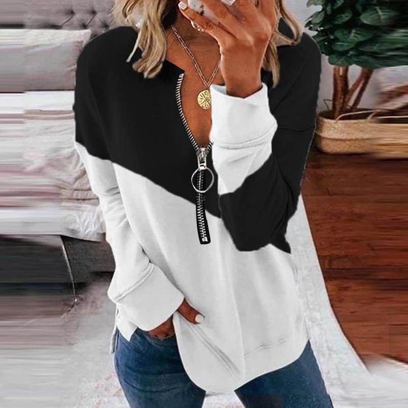 Women's Blouses & Shirts 2021 Zipper V Neck Casual Loose Top Color Matching Sweatshirts Autumn Long Sleeve T-shirt Women Clothing