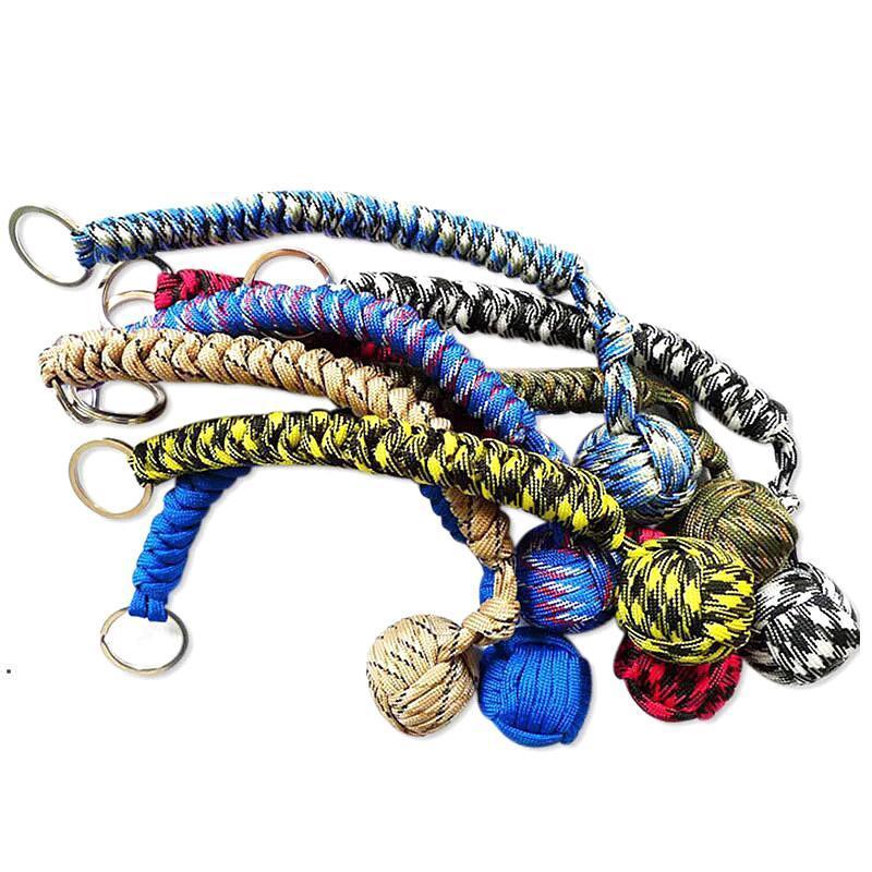 Cadena trenzada de cuerda Aterno de autodefensa al aire libre Perlas de autodefensa redonda llavero para mujeres HHD5922