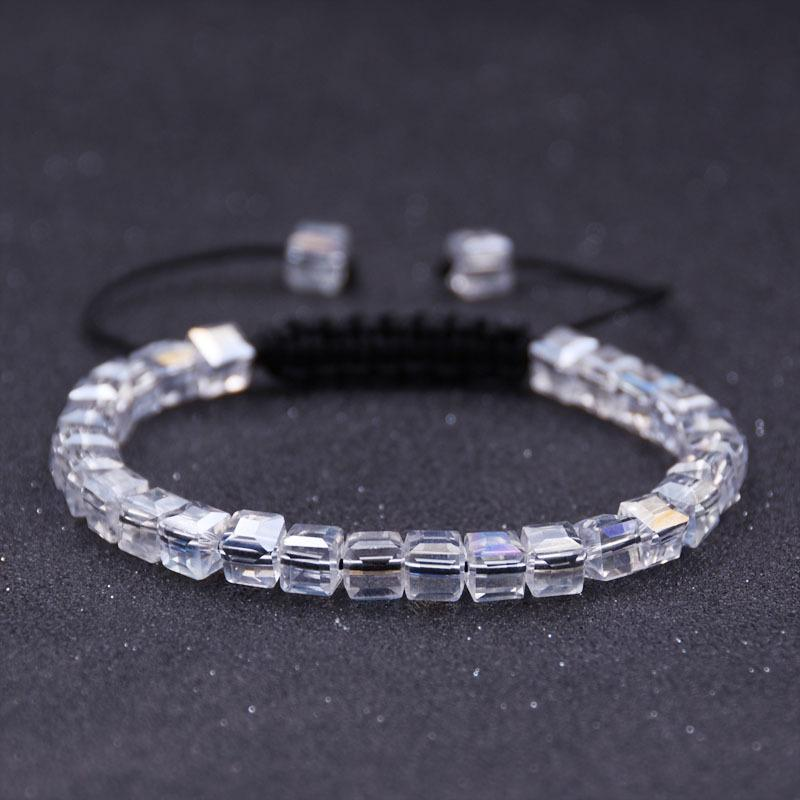 Beaded, Strands Fashion Charm Transparent Handmade Square Crystal Bead Bracelet Men And Women Adjustable Braided Rope