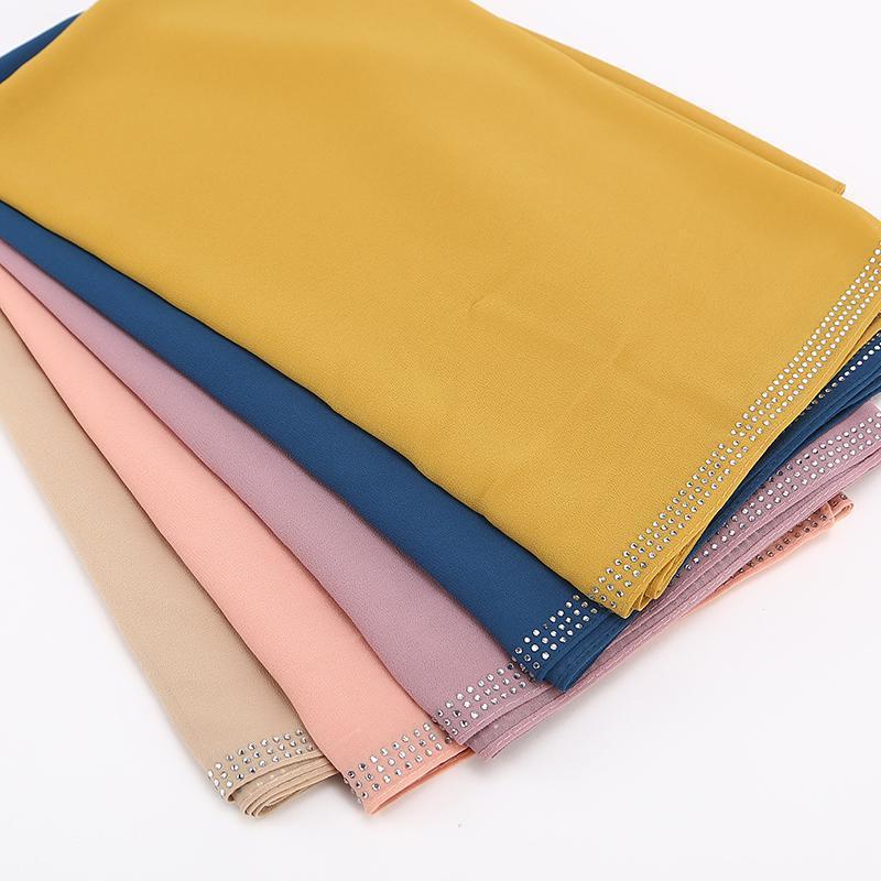 10 قطعة / الوحدة بالجملة عالية الجودة بريميوم البيسي الشيفون الحجاب وشاح الماليزية المرأة والأوشحة الماس الحجاب طويل شال شالات