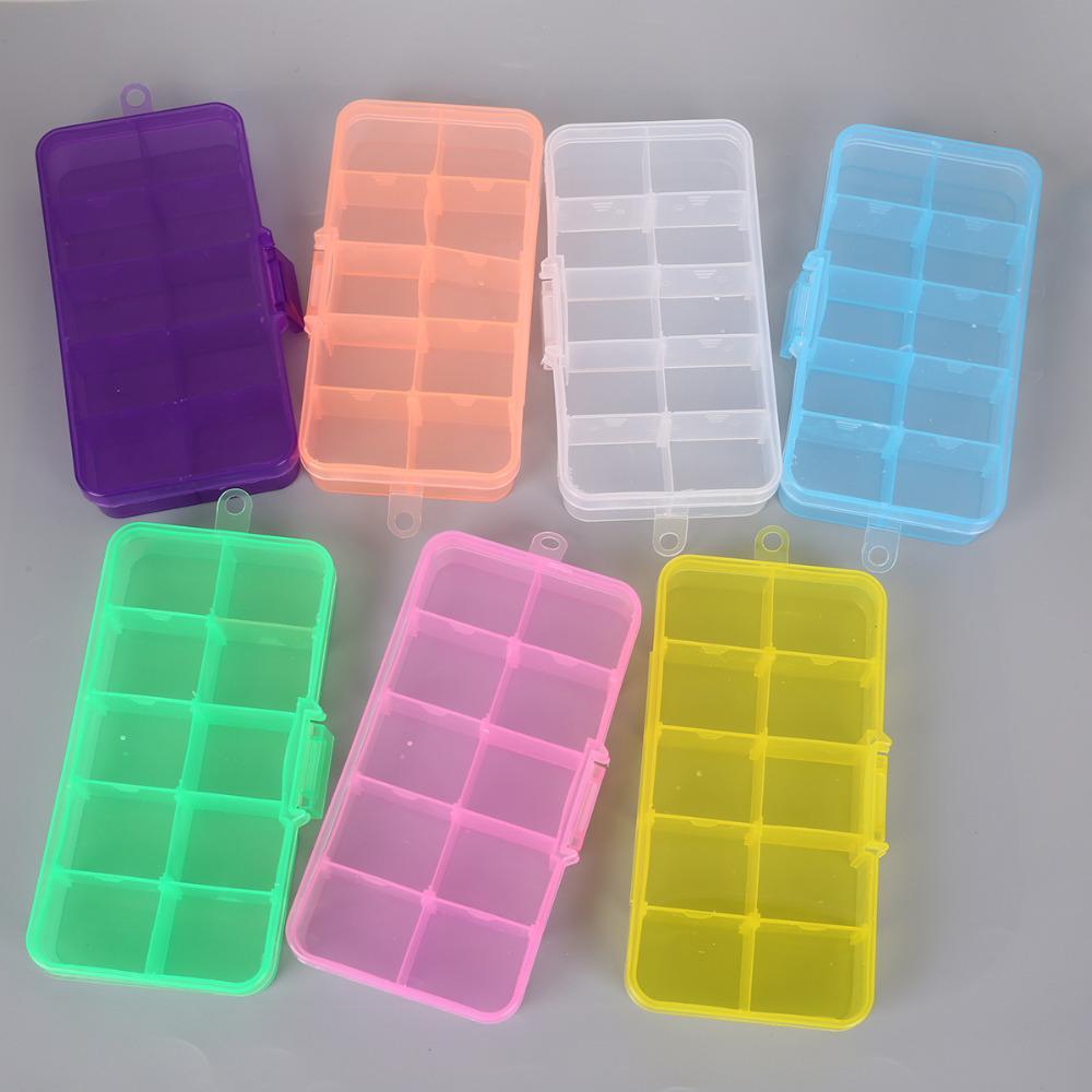 10 slot Scatole di immagazzinaggio in plastica Contenitore regolabile con scomparto per perline per orecchini Collana pendente Collana Portatile Rettangolo Caso