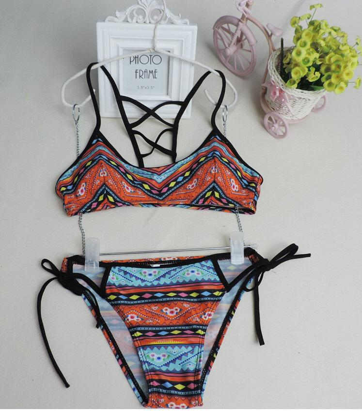 Nuevo Single Sexy Bikini Sujetador Estampado Femenino Split Beach Resort Traje de baño