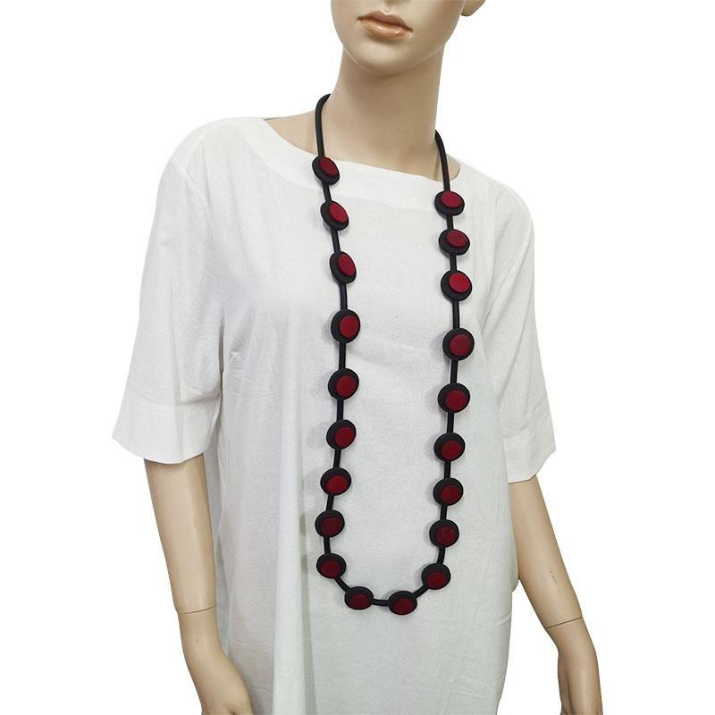 Ydydbz gomma rotonda bottone lungo collana lunga donna maglione fatto a mano accessori decorazione multicolore decorazione di gioielli catene
