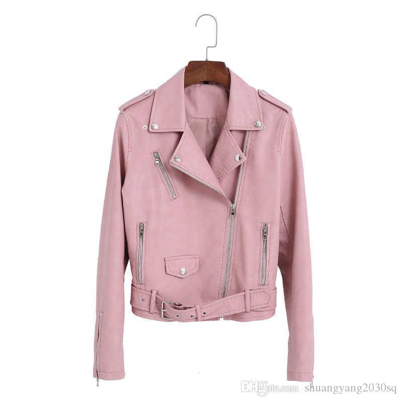 Le donne in pelle PU Slim Giacca corta in stile coreano moda outdoor outwear manica lunga con cerniera con giacche da donna da donna