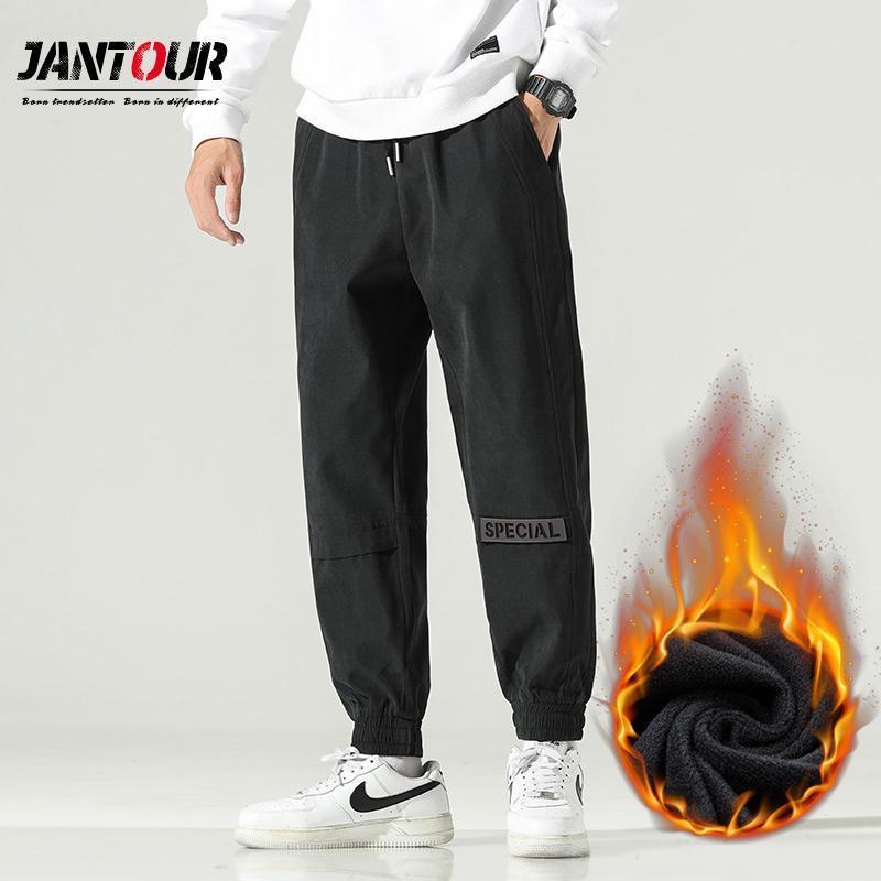 Jantour 브랜드 2021 겨울 남성용 양털 따뜻한 캐주얼 바지 야외 블랙 클래스 느슨한 패션 바지 플러스 사이즈 M-4XL