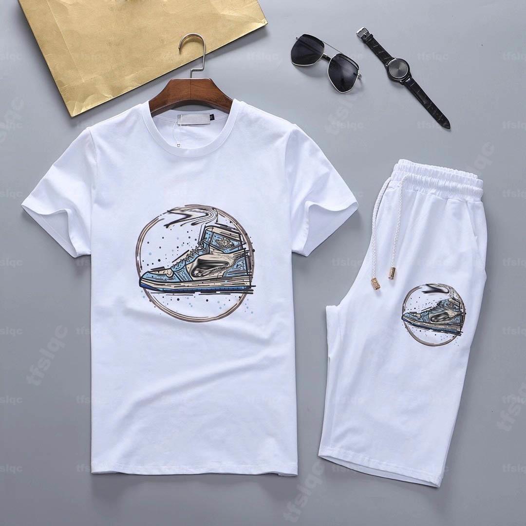 Erkek Colorblock Eşofman Yaz Spor Suits Rahat Kısa Kollu Tişörtleri Gevşek Şort Homme 2 adet Giyim Setleri