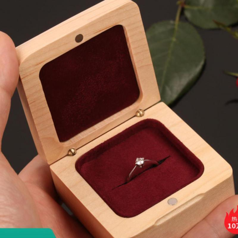 Jewelry Pouches, Bags 10pcs/lot Natural Wood Box Magnetic Cover Wooden Ring Earring Stud Holder Wedding Storage Case Gift Boxes