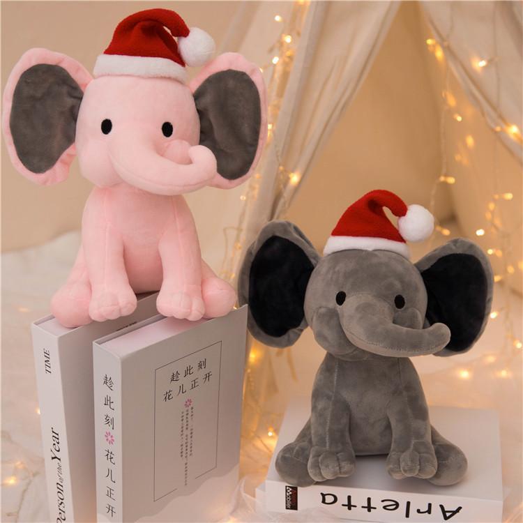 2 ألوان الاطفال الفيل بلوه اللعب مع عيد الميلاد قبعة لينة وسادة محشوة الكرتون الحيوانات لينة دمى اللعب الاطفال النوم عودة وسادة الأطفال هدية عيد