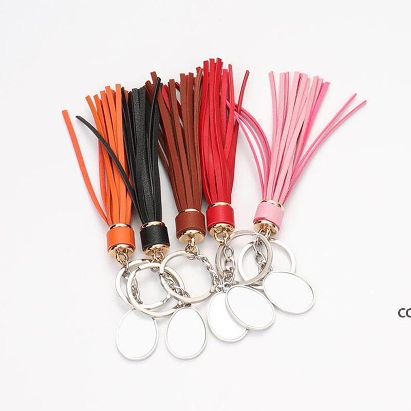 Мода Сублимационные пустые кисточки брелок подвесной теплопередат кожаные багажные украшения брелок DIY подарочный ключ кольцо DHB7277