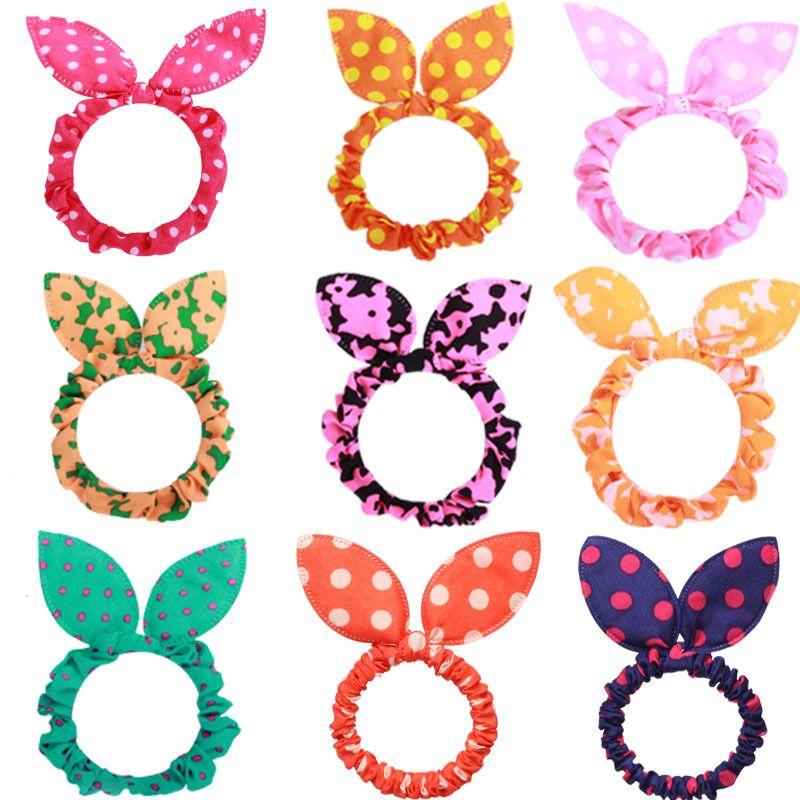 100pc pelo de goma de pelo lunar lunar doquilla de conejo orejas cabeza flor de goma cuerda elástica pelo accesorios para el cabello para niñas Headwear 1583 Q2