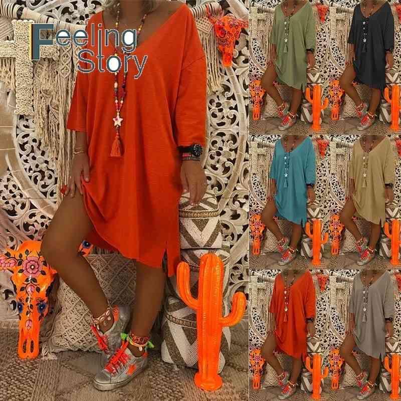 Plus Size Frühling Oansatz Baumwolle Hohe Low Kleid Frauen Sommer Stil Feminino Vestido T-shirt Lässige Damenkleider 210603