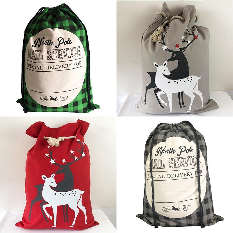 2021 Sac de Noël Elk Santa San Toile Cordon Crowstring Sacs à Candy Rouge Grille de stockage Apple Packet