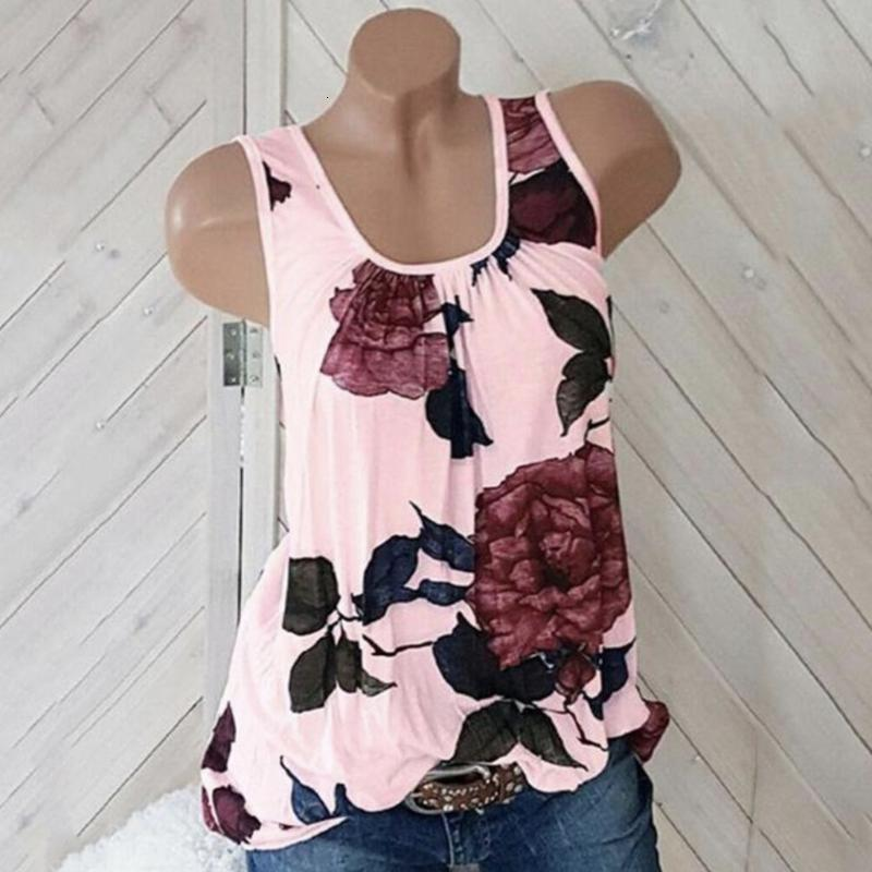 Womens Plus Размер Бак Top Повседневная Цветочная Распечатать O-SEIL Weal Tops Mujer Verano 2019 Haut Femme Женщины Лето Топ новый