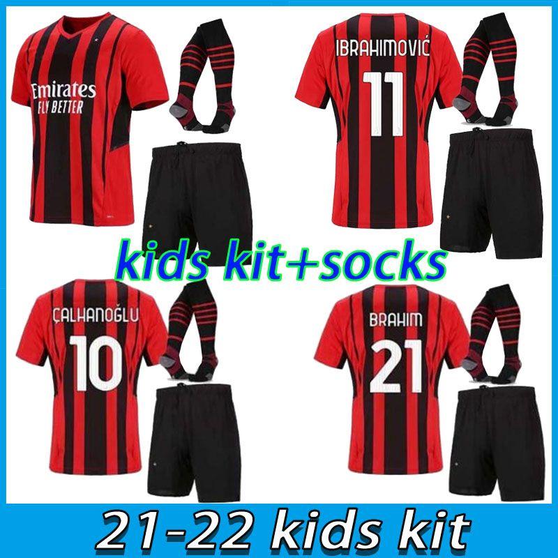 21 22 ميلان Soccer Jersey Kids Kits AC 2021 2022 Ibrahimovic Piatek Football Shirt Paqueta Bennacer Theo Tonali Camisa de Futbol Child Child Child